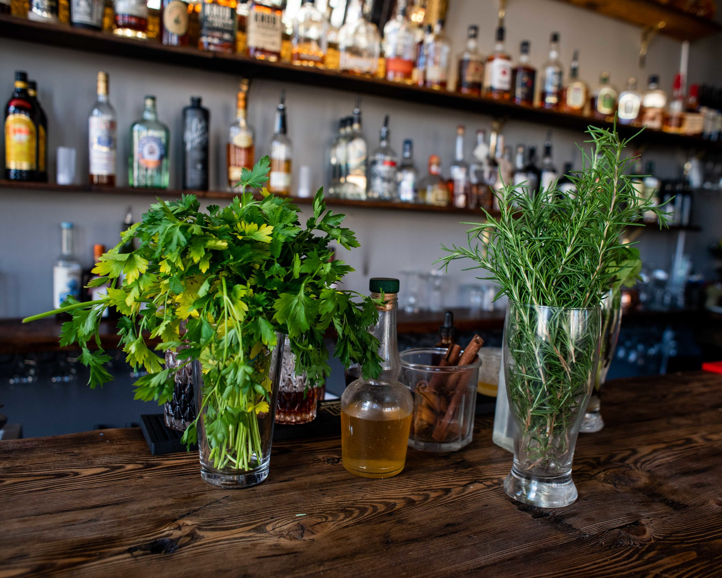 Fresh herbs for the drinks.