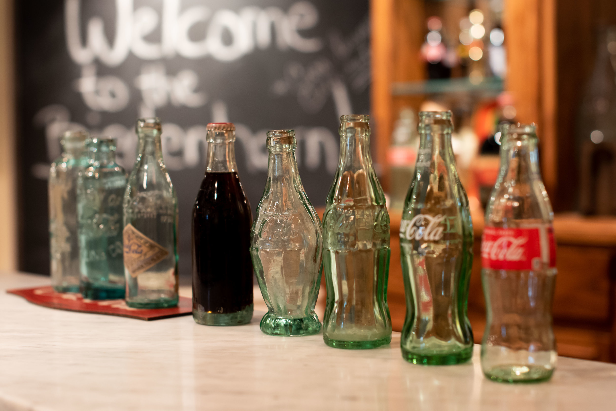 Coke bottles through the years.