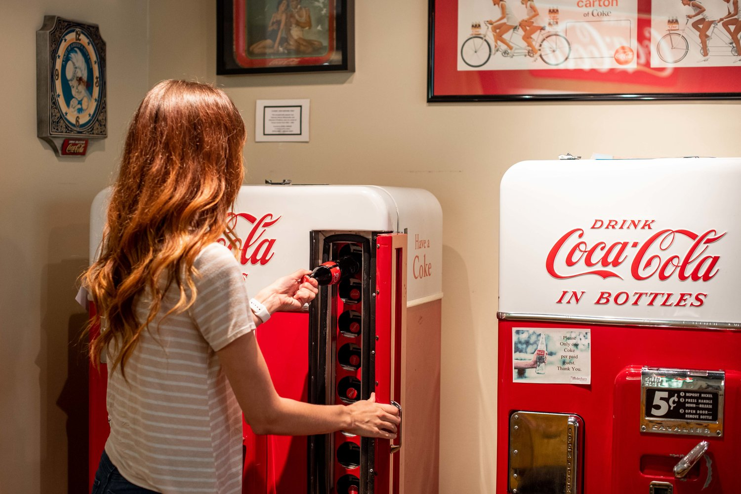 Glass-bottle Cokes for a nickel.