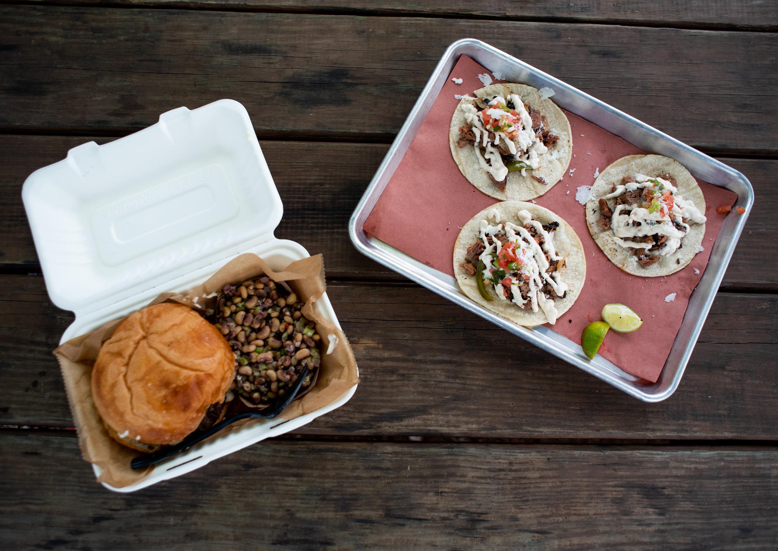 Habanero burger and BBQ brisket tacos
