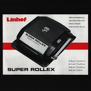 Linhof Super Rollex 56x72 6x6 6x9 Roll Film Back Instructions 1990_German English Spanish French Languages