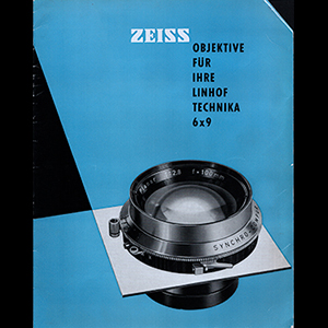 Linhof Carl Zeiss Lenses for 6x9 Technika German Language