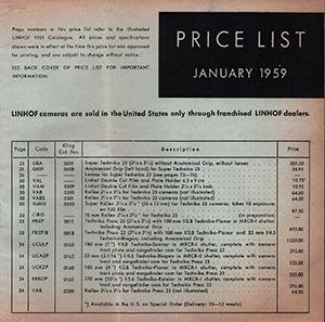 Linhof 1959 Price List Kling USA English Language January