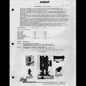 Linhof 1986 Product Specification Catalog USA English Language