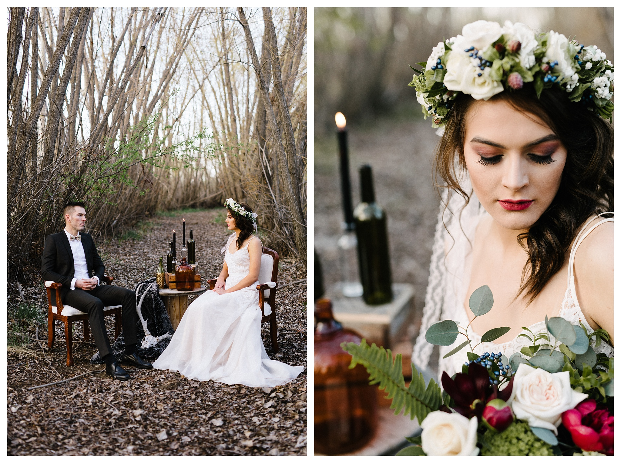 Design + Decor- Events by Natalie Noel. Head wreath and bouquet by Fresh Flowers. Photography by Schae Photography.