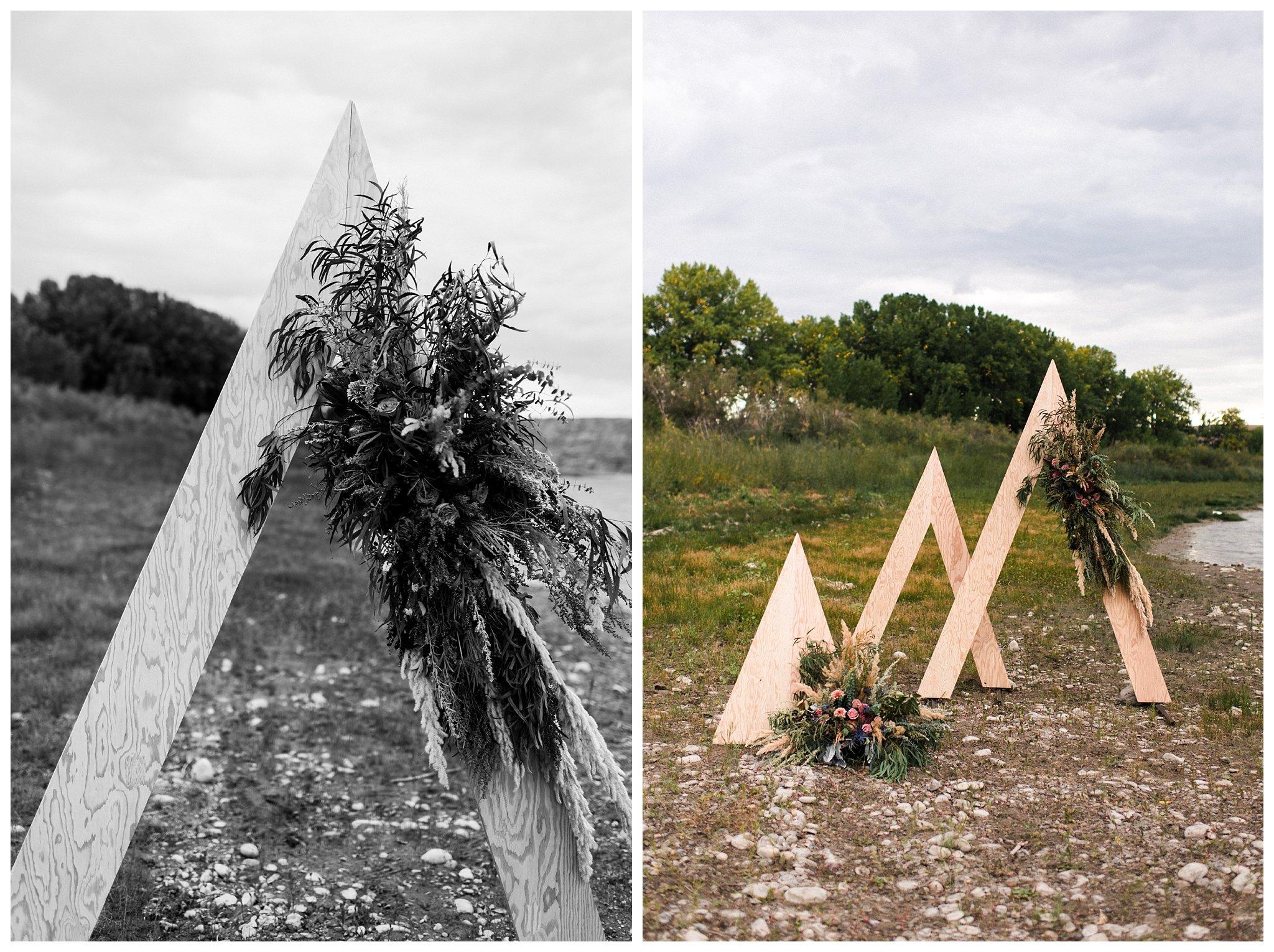 Custom built triangle ceremony setup + Florals by Natalie Noel.