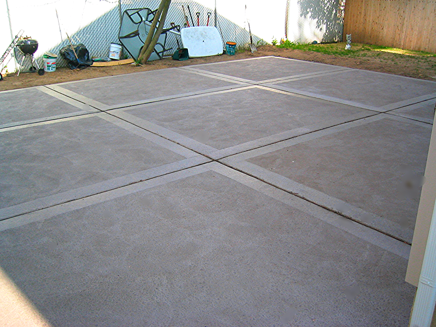 Concrete Patio with hand float finish, the old fashioned way.