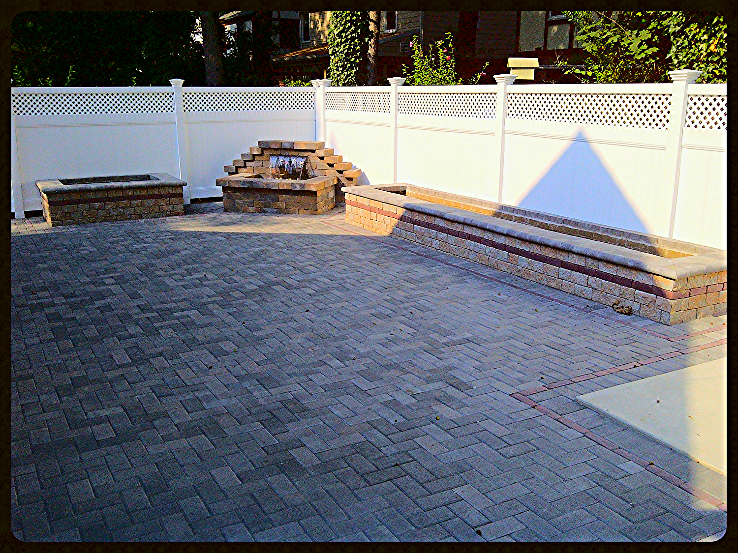 Hollandstone Pavers, Dry Stack walls with detail border for planter boxes, Waterfall with LED colored lights
