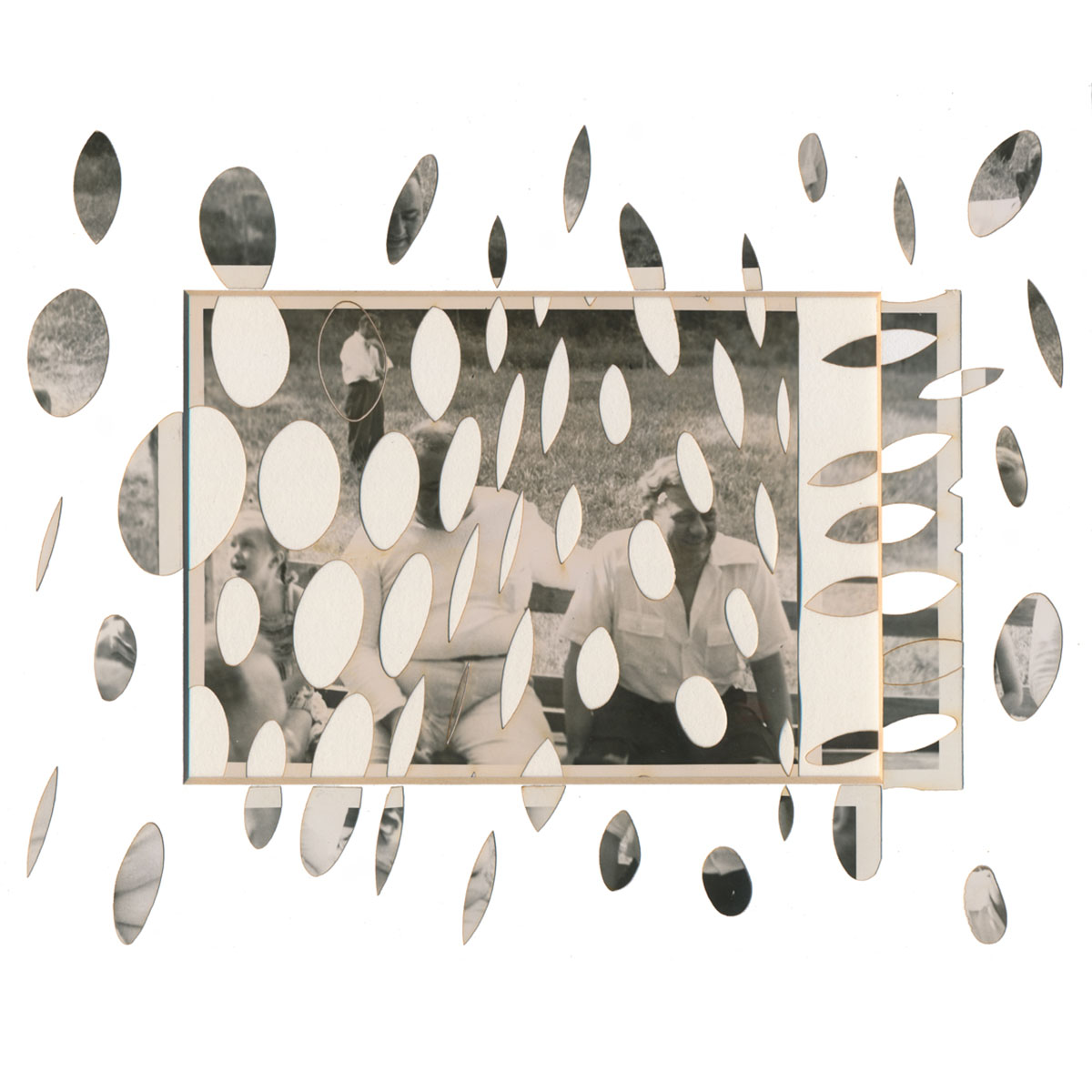 """The original snapshot measures 4"""" x 6"""" while photographic collage bits break the picture plane and float out of the window mat, extending the spatial field."""