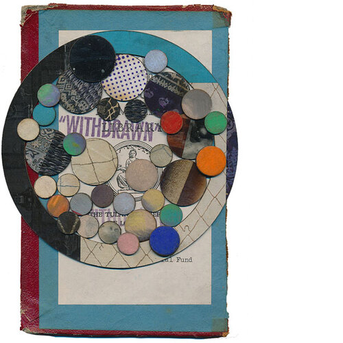"""TITLE OF WORK: NA 1161.S3 1849 v. 1/2 ARCH (WITHDRAWN 2) LOCATION & DATE CREATED: New Orleans, LA, 2016 DIMENSIONS: 5"""" x 7"""" (unframed) MEDIA/PROCESS: paper, chipboard, book cover/ cut and paste collage   SOLD"""