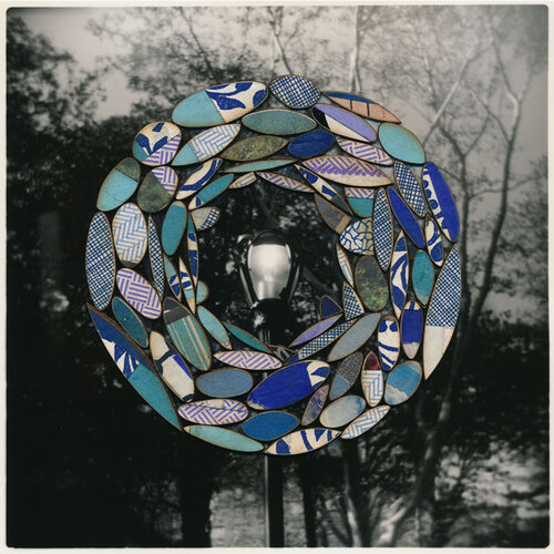 """TITLE OF WORK: Dayburner 6753 (a brilliant blue ground) LOCATION & DATE CREATED: New York, NY, 2004 and New Orleans, LA, 2018 DIMENSIONS: 8"""" x 10"""" (unframed) MEDIA/PROCESS: silver print, various papers, chipboard/ cut and paste collage   SOLD"""
