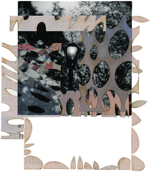 """TITLE OF WORK: Dayburner 6747 (Negative Space) LOCATION & DATE CREATED: New York, NY, 2004 and New Orleans, LA, 2016 DIMENSIONS: 8"""" x 10"""" (unframed) MEDIA/PROCESS: silver print, newspaper/ cut and paste collage   SOLD"""