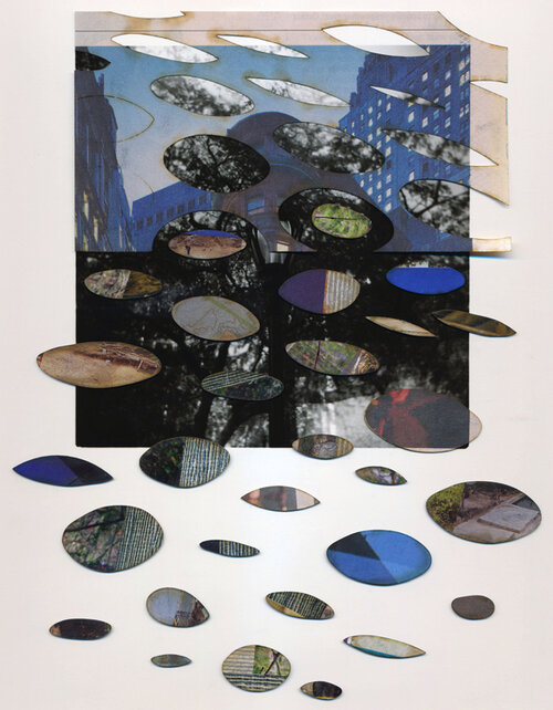 """TITLE OF WORK: Dayburner 6807 (Blue Twilight) LOCATION & DATE CREATED: New York, NY, 2004 and New Orleans, LA, 2016 DIMENSIONS: 8"""" x 10"""" with window mat 11"""" x 14"""" (unframed) MEDIA/PROCESS: silver print, newspaper, various papers, chipboard/ cut and paste collage   SOLD"""