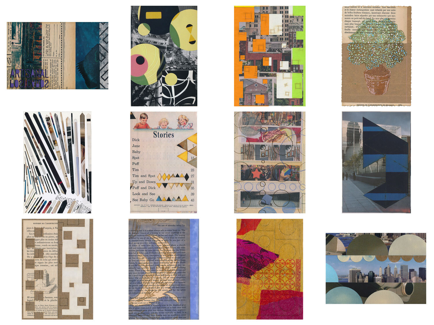A completed mail art gift subscription, snail mailed small works of collage in postcard form to the Miller-Winters from Kicki, August 2016 - July 2017.  Artisanal Postcards Numbers 1,353 • 1,383 • 1,411 • 1,477 • 1,504 • 1,675 • 1,532 • 1,555 • 1,584 • 1,615 • 1,638 • 1,446