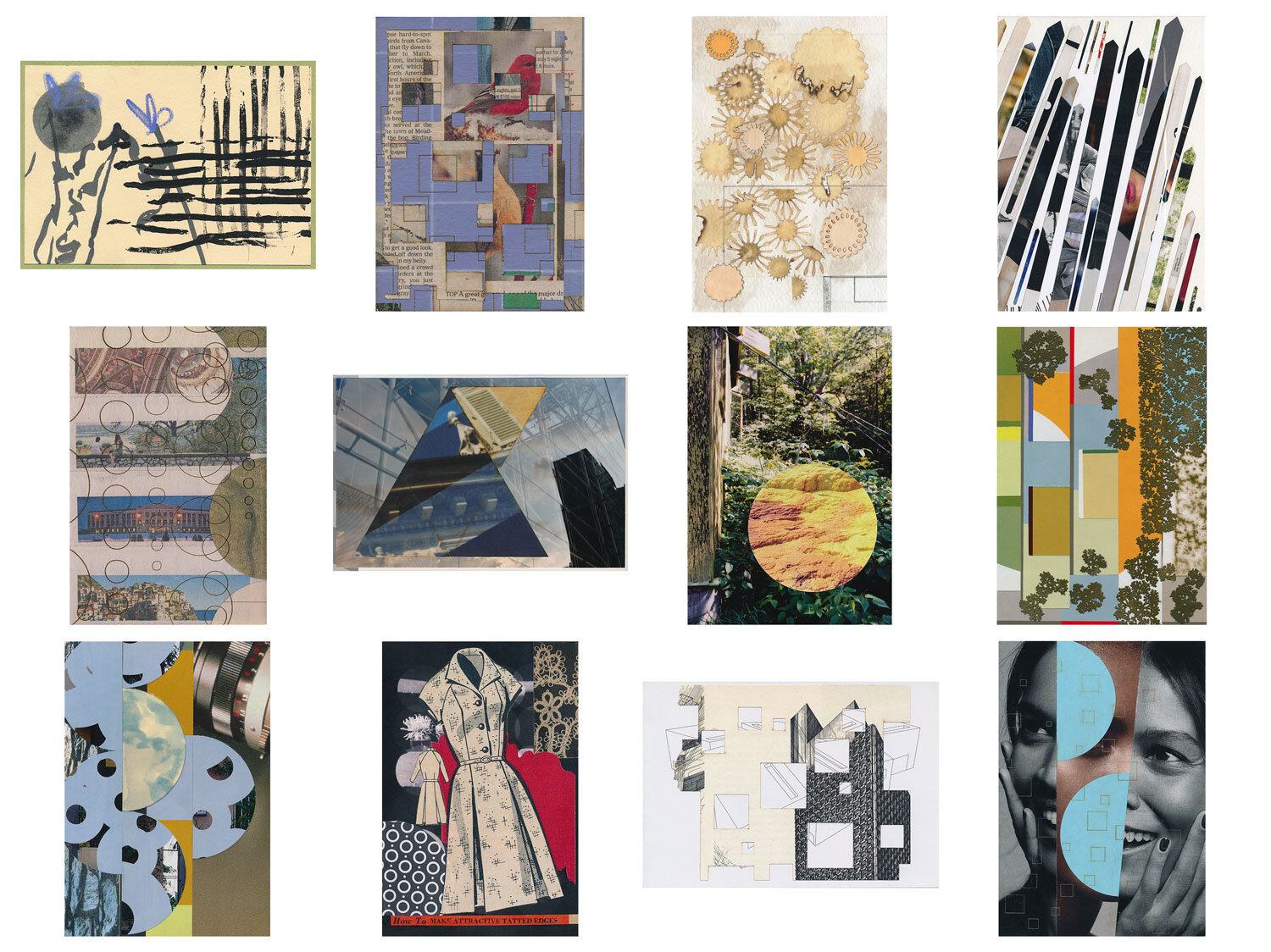 A completed mail art subscription, snail mailed small works of collage in postcard form to Anabelle in New Orleans, July 2016 - June 2017  Artisanal Postcards Numbers 1,349 • 1,324 • 1,335 • 1,556 • 1,529 • 1,581 • 1,505 • 1,474 • 1,447 • 1,380 • 1,612 • 1,408