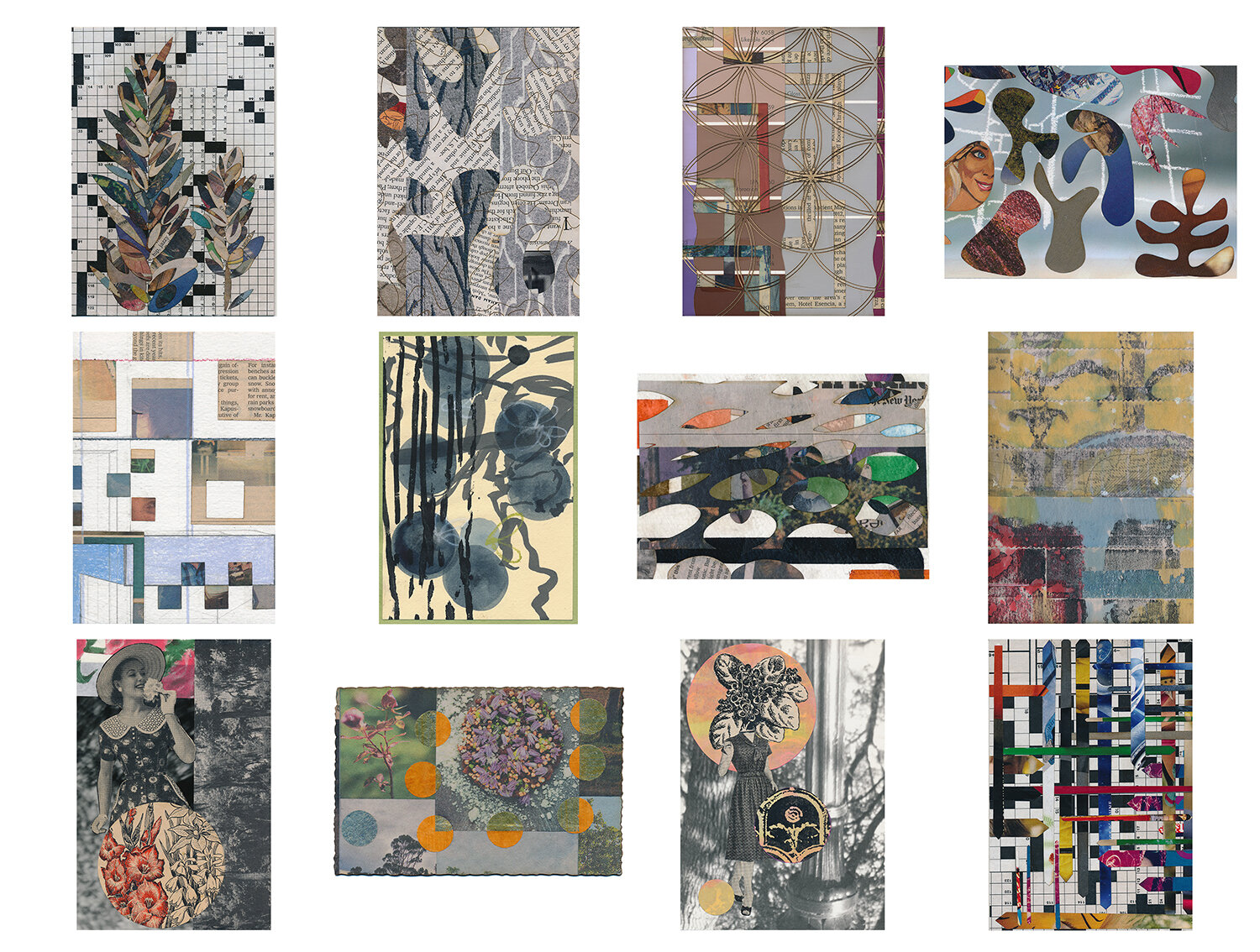 A completed mail art subscription, snail mailed small works of collage in postcard form to JD, March 2015 – February 2016.  Artisanal Postcards Numbers 1,125 • 1,082 • 1,101 • 1,103 • 1,136 • 1,174 • 1,164 • 1,225 • 1,185 • 1,194 • 1,201 • 1,152