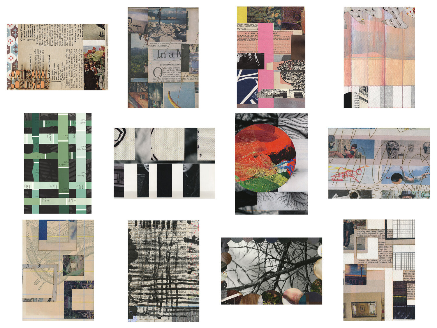 A completed mail art subscription, snail mailed small works of collage in postcard form to BB, June 2014 – May 2015.  Artisanal Postcards Numbers 894 • 1,110 • 919 • 980 • 1,025 • 941 • 1,038 • 997 • 1,092 • 1,066 • 1,060 • 880