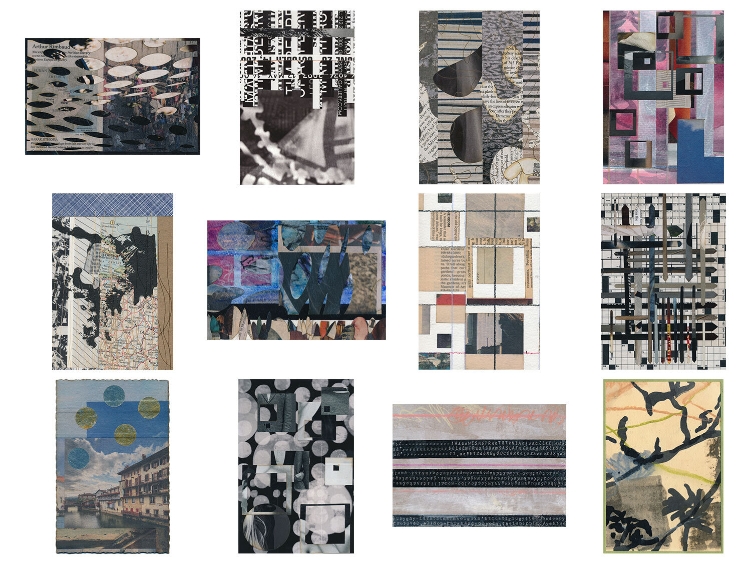 A completed mail art subscription, snail mailed small works of collage in postcard form to longtime subscribers Fins-Markowitz, January - December 2015.  Artisanal Postcards Numbers 1,117 • 1,033 • 1,075 • 1,098 • 1,105 • 1,166 • 1,134 • 1,145 • 1,196 • 1,180 • 1,151 • 1,168