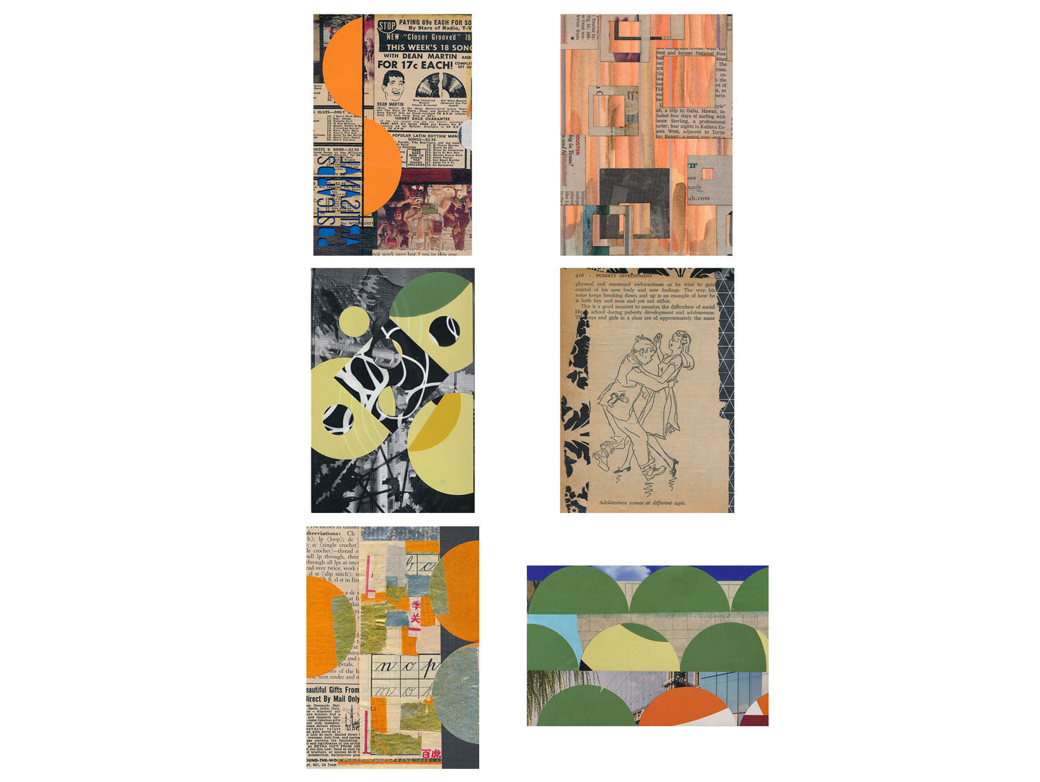 A completed mail art gift subscription, snail mailed small works of collage in postcard form to Aunt Linda from Ava, July - December 2016.  Artisanal Postcards Numbers 1,304 • 1,347 • 1,378 • 1,406 • 1,472 • 1,443