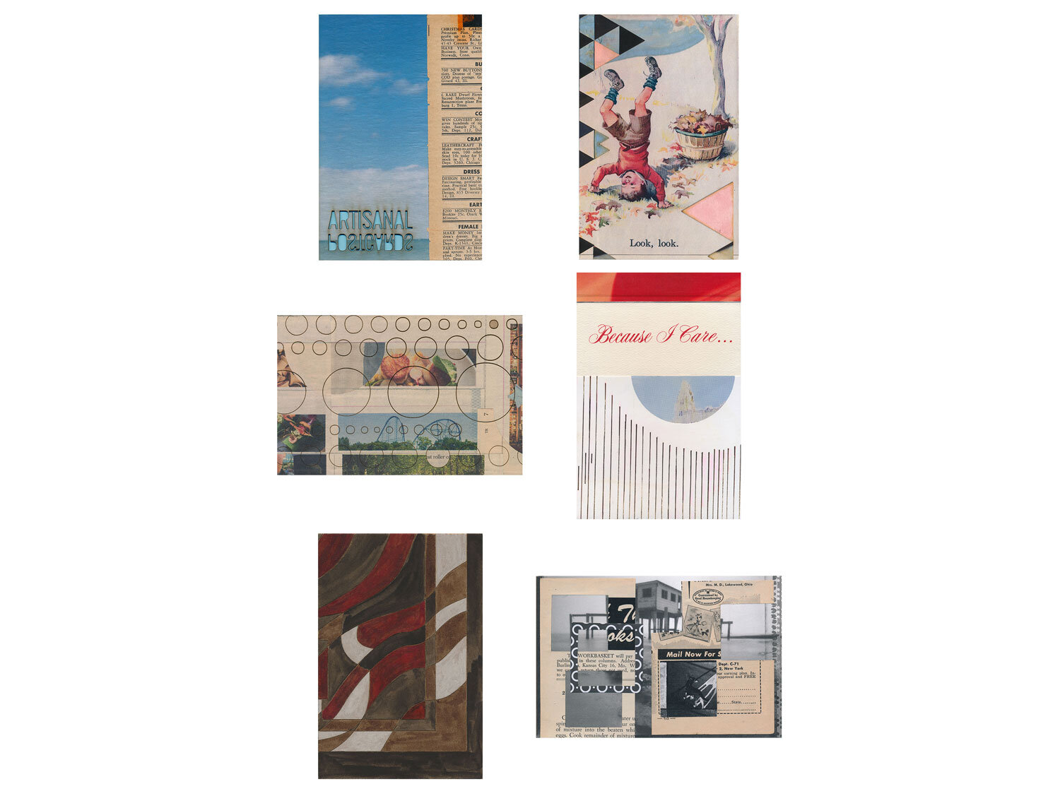 A completed mail art gift subscription, snail mailed collage postcards, each one handmade from a mother to her daughter, July - November 2017.  Artisanal Postcards Numbers 1,652 • 1,673 • 1,379 • 1,702 • 1,721 • 1,738 • 1,760