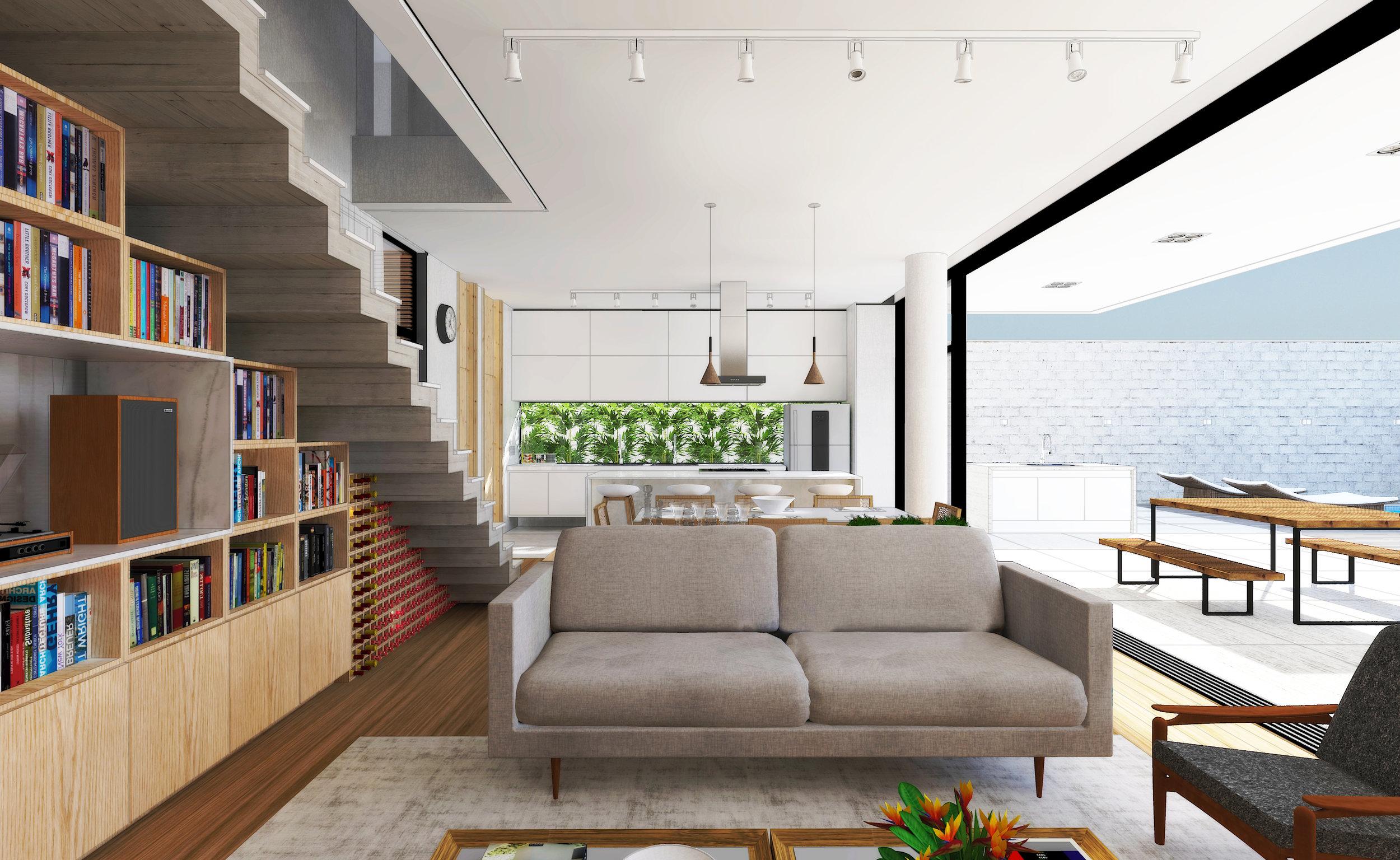 Interiores da Residência NL, veja mais sobre o projeto clicando  AQUI