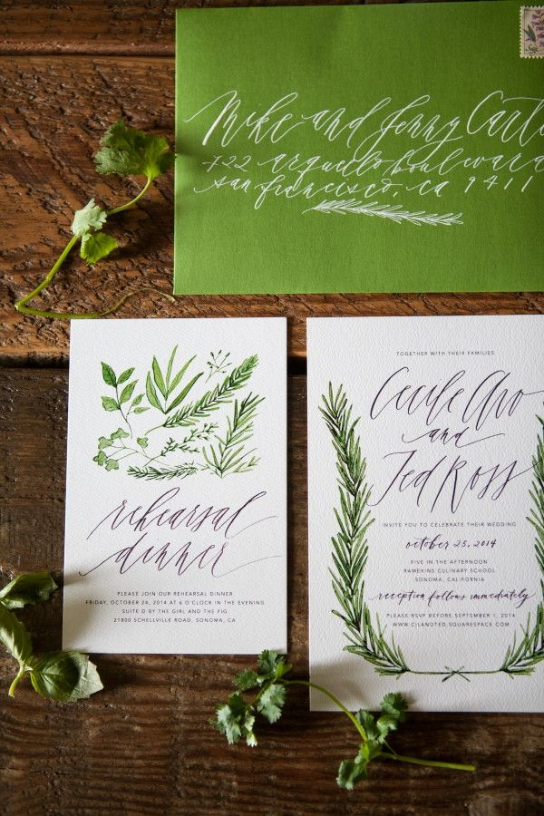 Herb-Inspired Wedding Invitation Suite by Written Word Calligraphy & Design