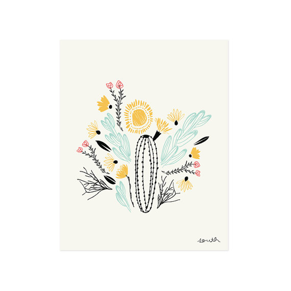 Sweet, modern southwestern print by Little Low