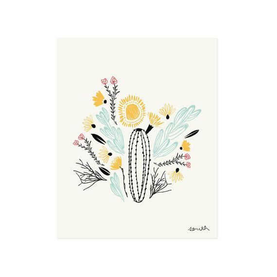 Sweet, modern southwestern print by Little Low