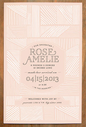 Beautiful, modern birth announcement by The Gray Attic