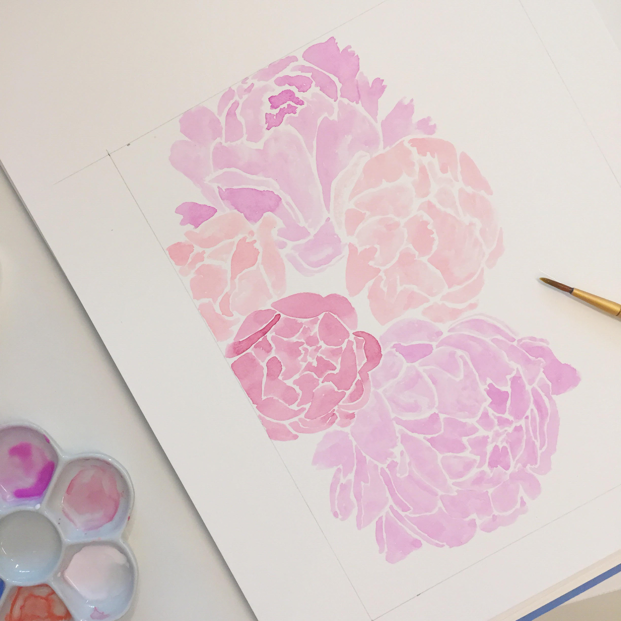 Sable and Gray Peony Painting