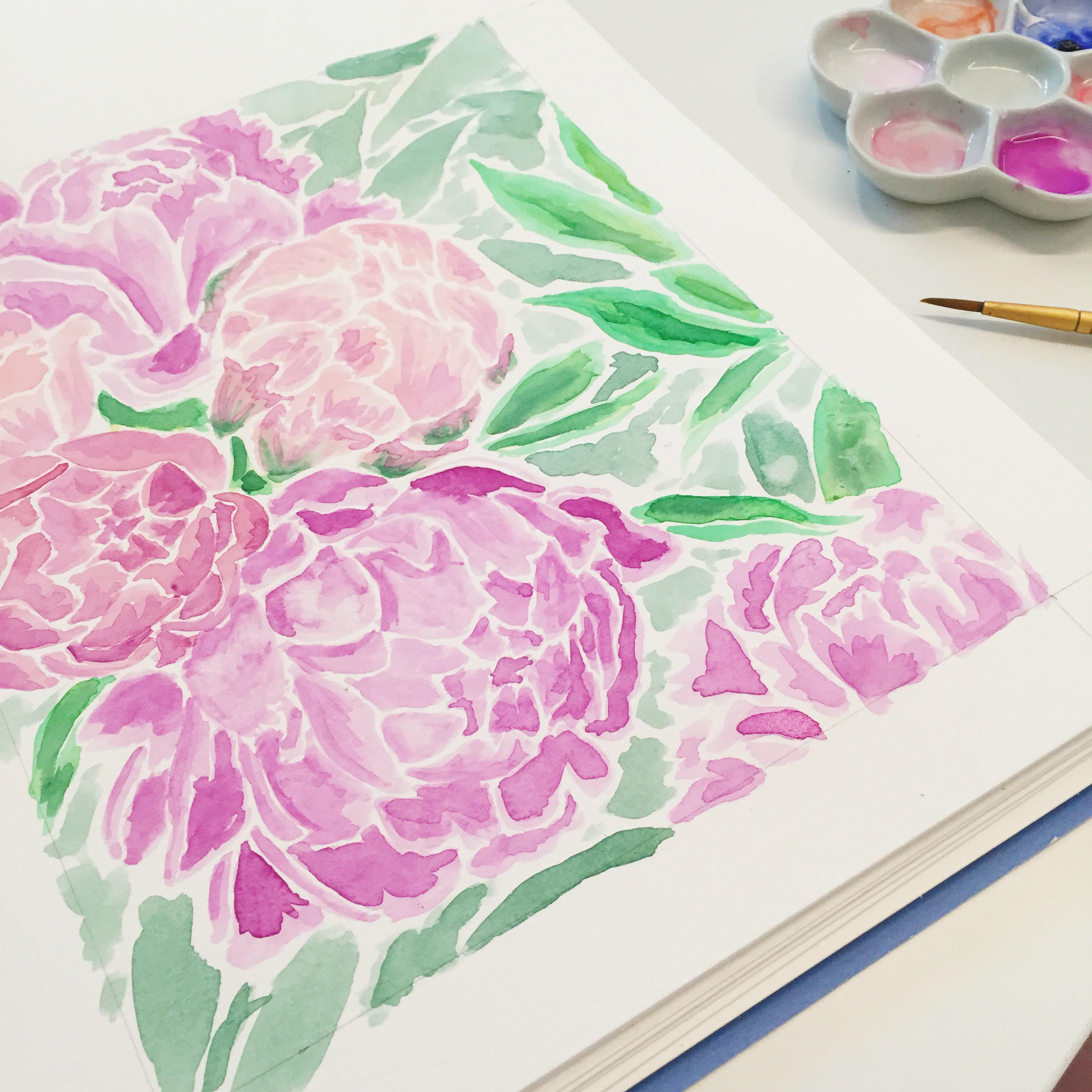 Sable and Gray Peony Painting 2