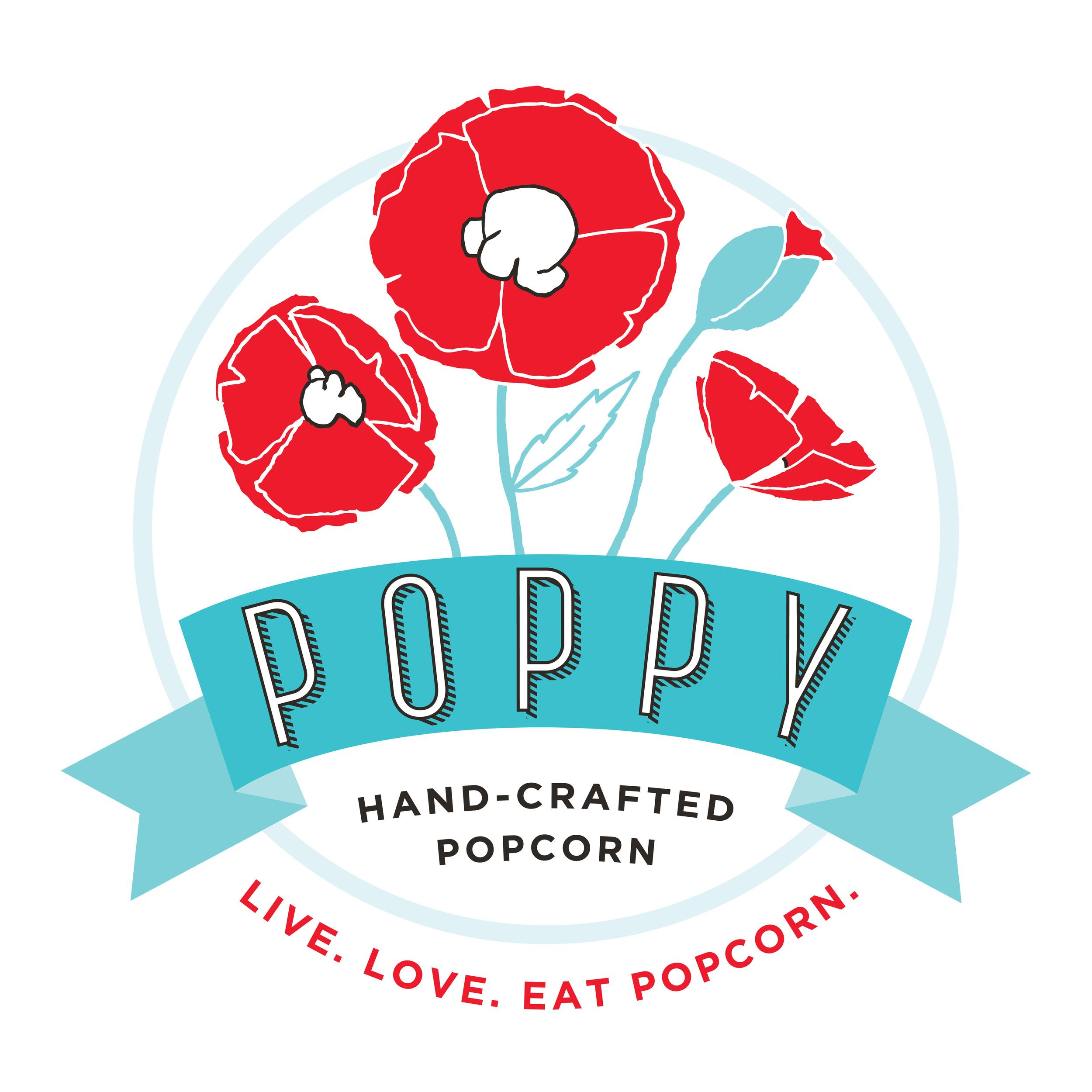 Poppy Handcrafted Popcorn Logo