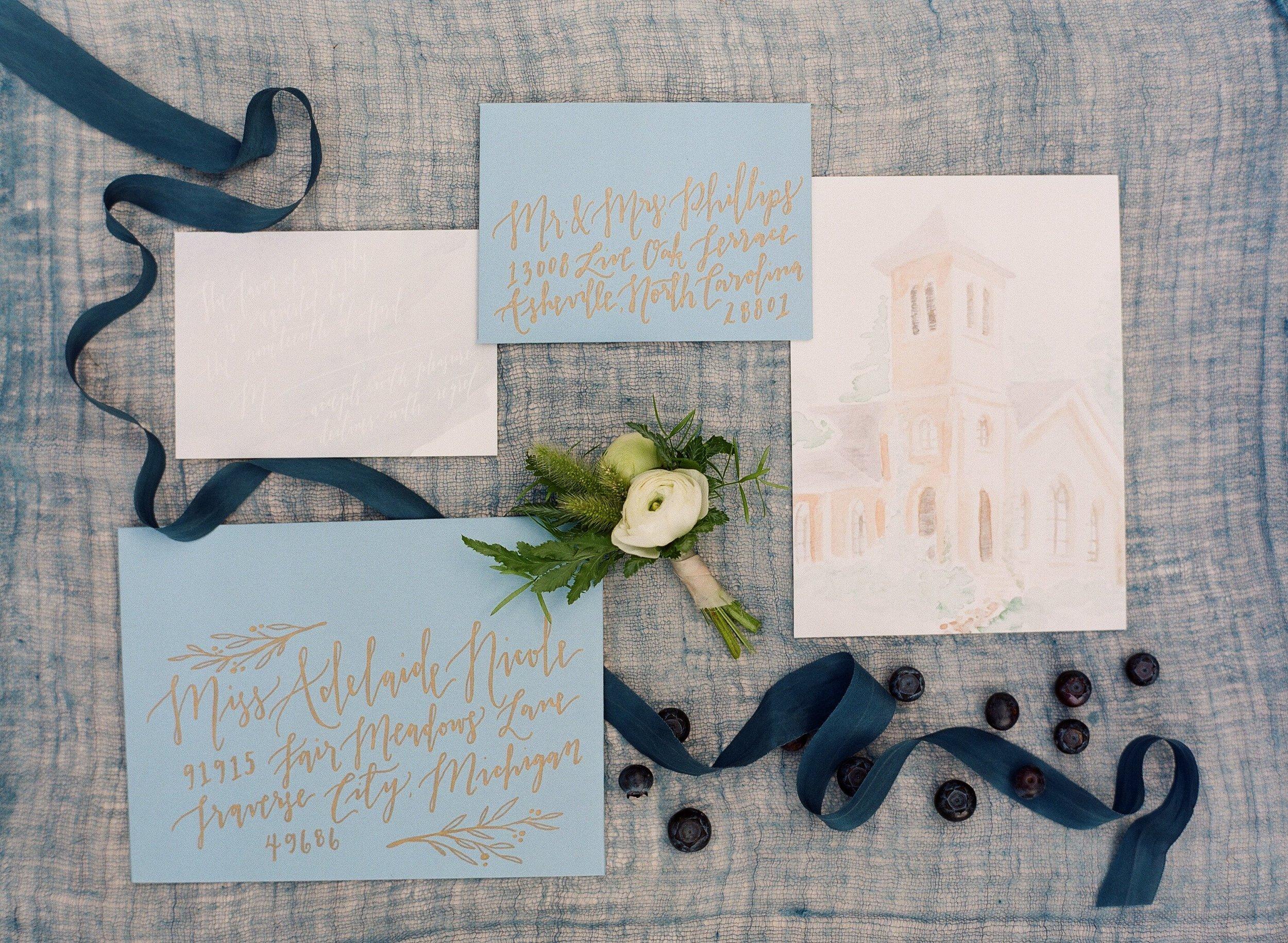Sable and Gray romantic mountain custom wedding invitation