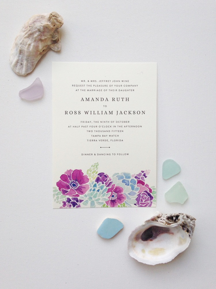 custom coastal floral wedding invitations by Sable and Gray