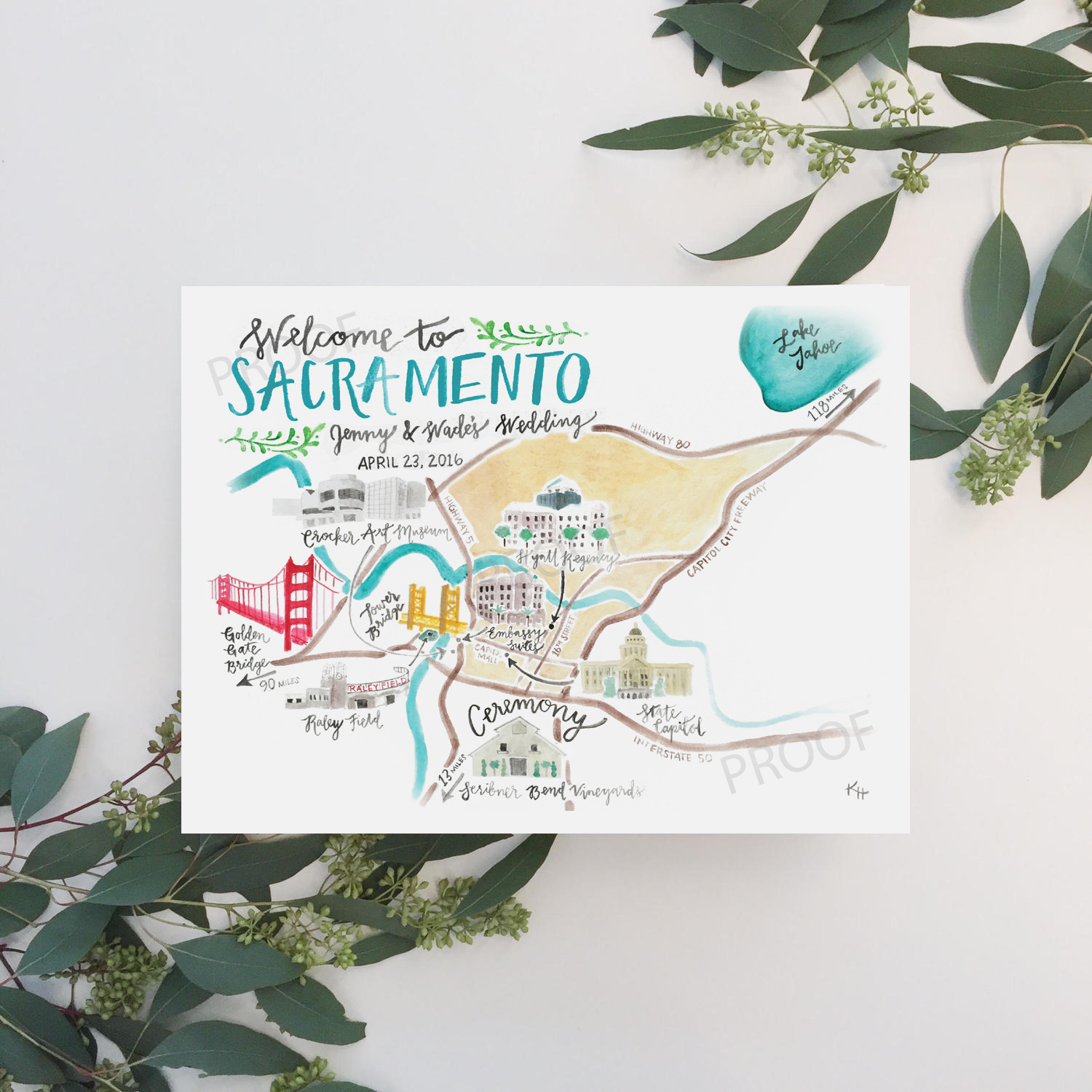 Custom Illustrated Watercolor Map by Sable and Gray