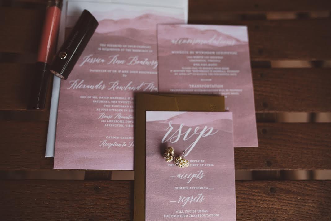 Sable an dGray Custom Wedding Invitation