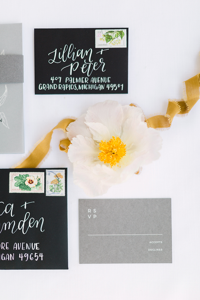 Sable and Gray Custom Wedding Invitations