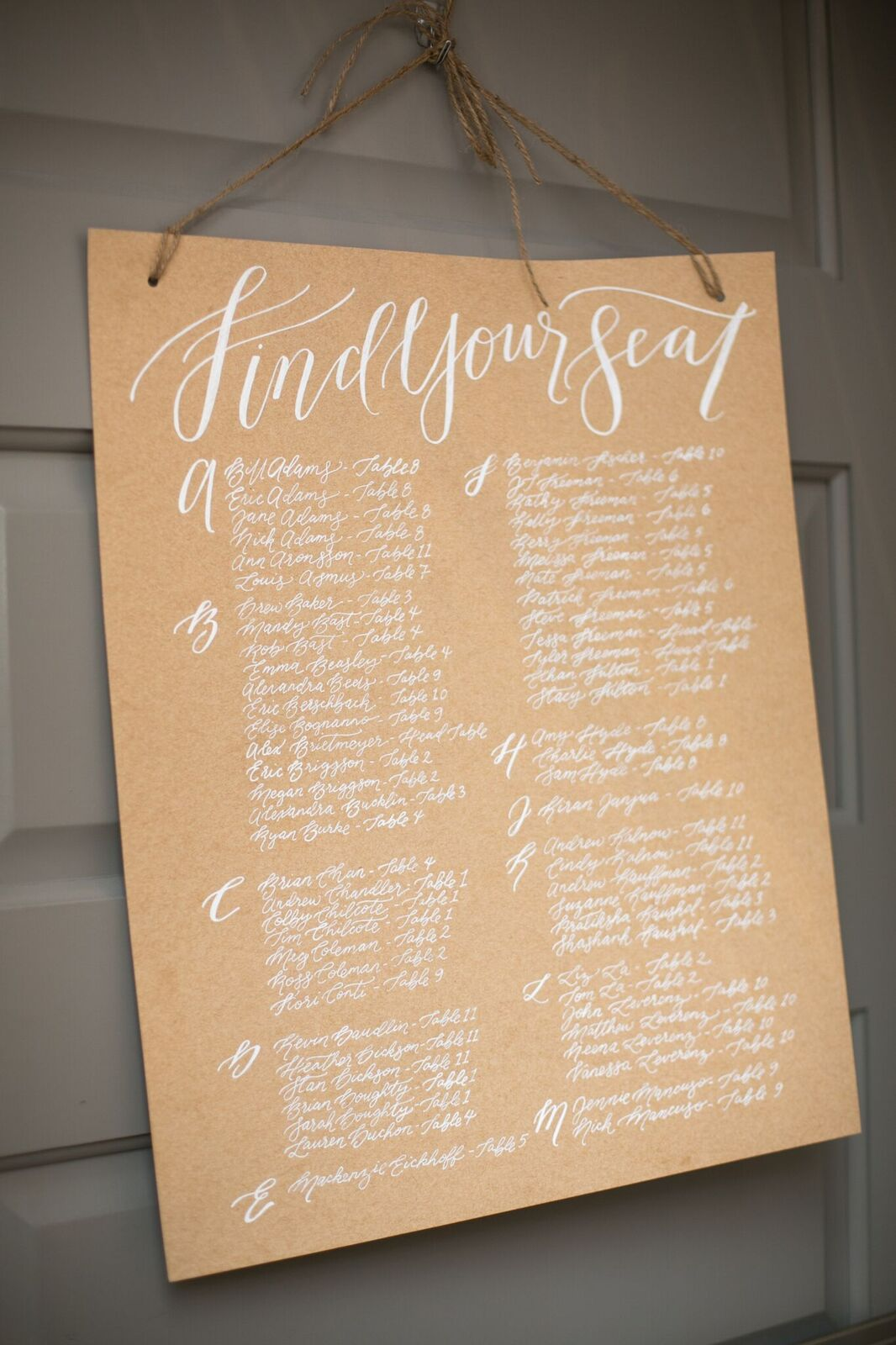 Custom seating chart by Sable and Gray - white ink on kraft paper