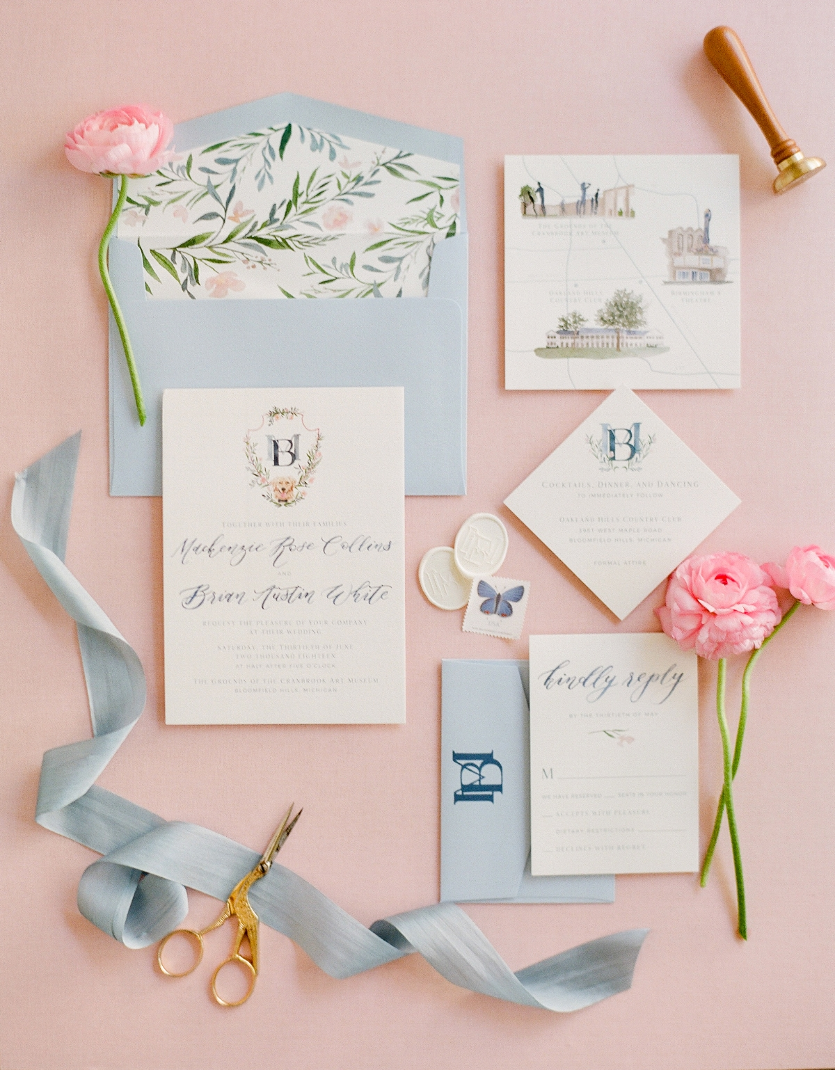 custom summer wedding invitation by sable and gray