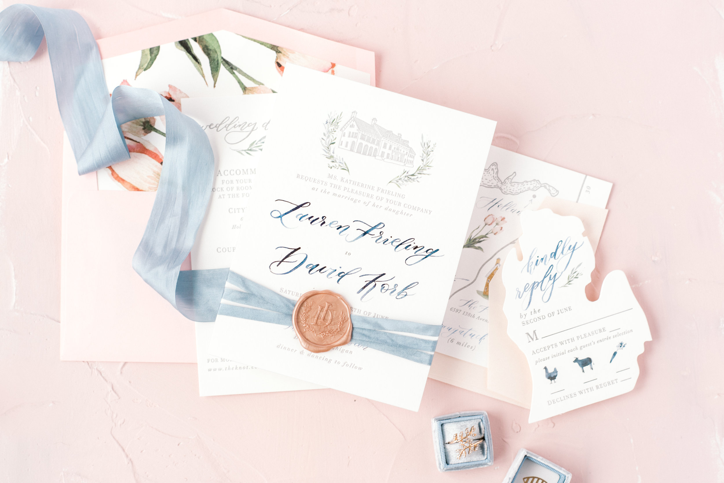 custom letterpress invitation suite by sable and gray