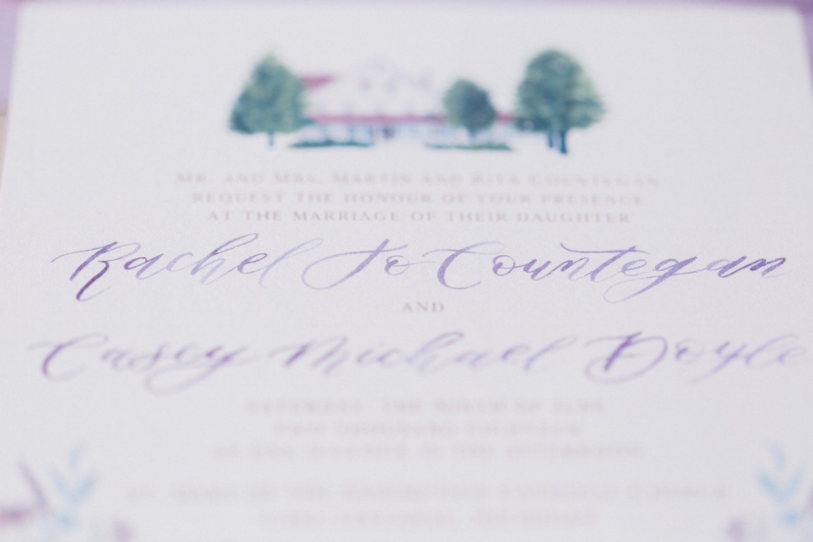 custom watercolor wedding invitation by sable and gray