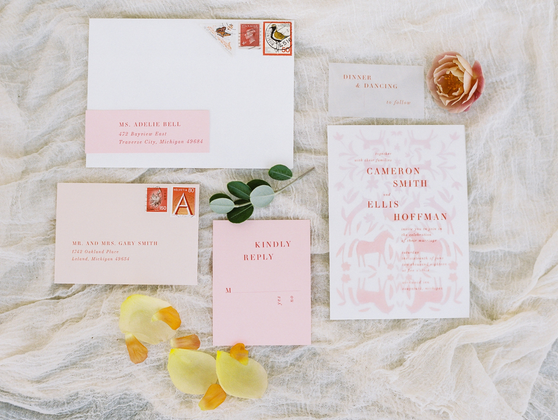 Custom Watercolor Otomi Wedding Invitation Suite by Sable and Gray