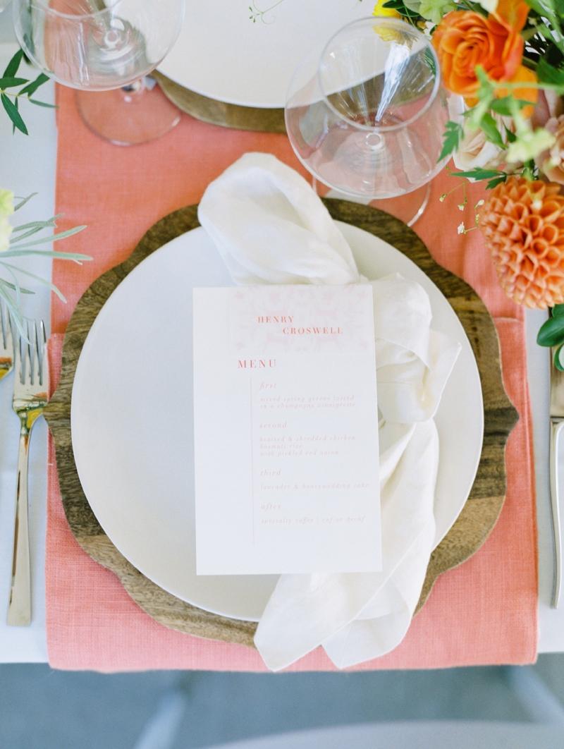 custom watercolor wedding menu by sable and gray