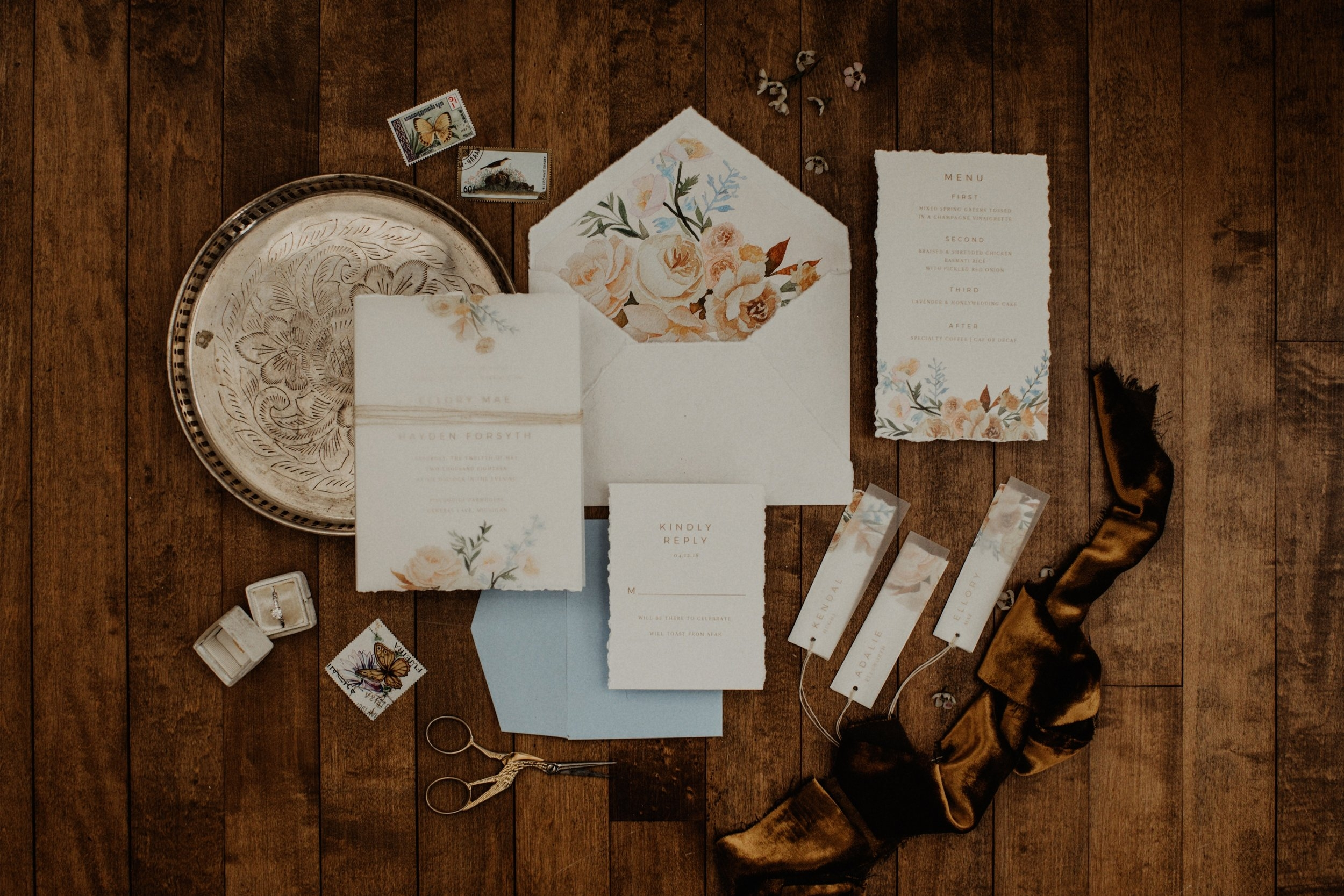 custom watercolor floral wedding invitation by sable and gray