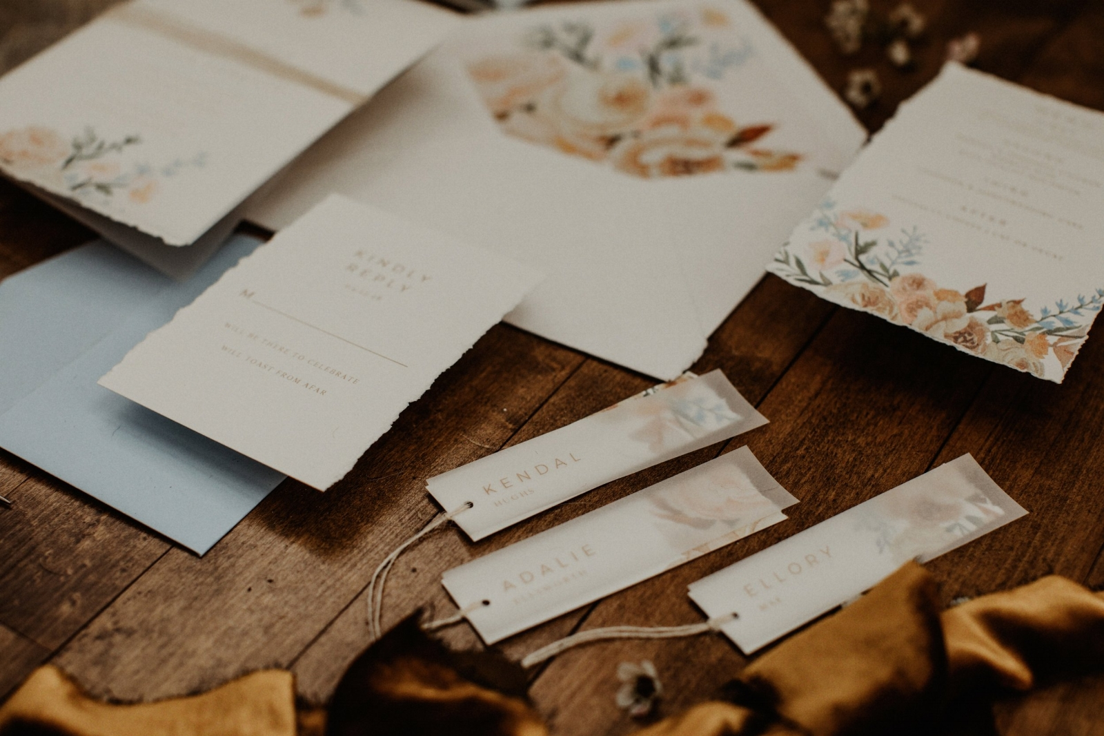 custom watercolor floral wedding stationery by sable and gray