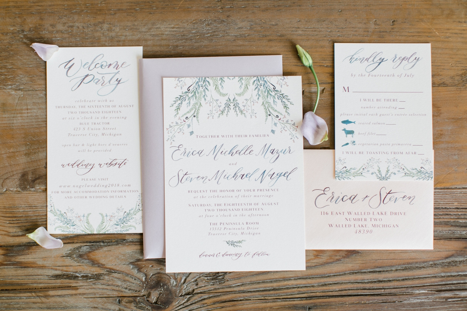 custom lavender wedding invitation suite by sable and gray