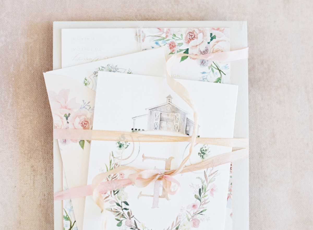 custom blush watercolor wedding invitations by sable and gray