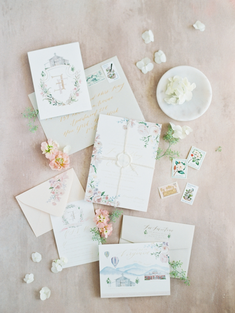 custom blush watercolor wedding invitation suite by sable and gray