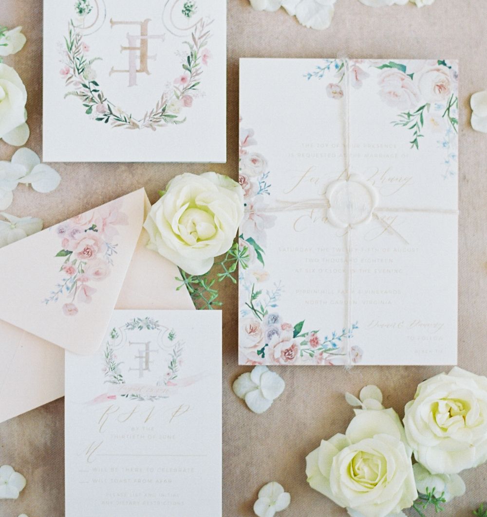 custom watercolor floral wedding invitation suite by sable and gray