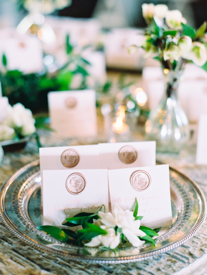 custom wax seal calligraphy place cards by sable and gray
